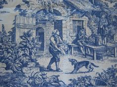 Two 26 x 26 Custom Pillow Covers Euro - Laura Ashley Country Toile Blue