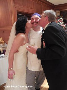 Bride and Groom with their Chef from Stone Soup Glenview Mansion, Center Park, Stone Soup, Formal Gardens, Be Perfect, Special Occasion, Groom, Bride, Formal Dresses