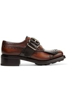 Prada - Fringed Burnished Leather Brogues - SALE20 at Checkout for an extra 20% off
