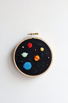 Space Embroidery hoop by twomoonsandhannais on Etsy