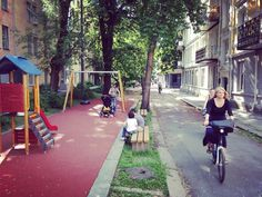 Oslo street converted into bikeway & playground. Click image to tweet and visit the Slow Ottawa boards >> https://www.pinterest.com/slowottawa/
