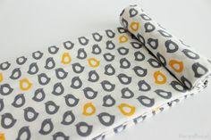 "Scadinavian Fabric - Chick Fabric - 43"" x 55"" -100%Cotton - Chick Pattern - Grey Yellow - KoreaBacol (9.50 USD) by KoreaBacol"