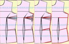 Eliminando la pinza de costado de busto en patrón delantero de blusa o vestido Pattern Making, Make It Yourself, Sewing, How To Make, Heron, Transformers, Google, Blog, Fashion