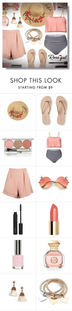 """""""Striped High Waisted Ruffle Bikini Set - Rosegal Contest!"""" by sarahguo ❤ liked on Polyvore featuring Aéropostale, Chantecaille, Finders Keepers, Topshop, Tory Burch and Loren Hope"""