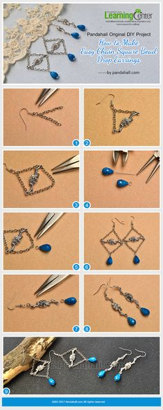 Pandahall Original DIY Project - How to Make Easy Chain Square Bead Drop Earrings