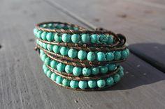 Turquoise Beaded Leather Wrap Bracelet. $37.00, via Etsy.