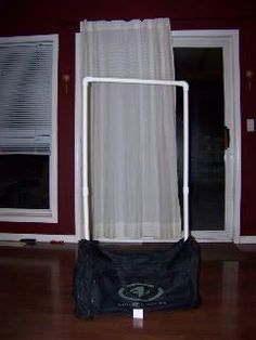 Make your own garment rack that fits inside a duffel using PVC pipe.  Much cheaper than a dream duffel!!