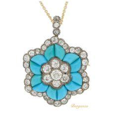 Antique Pendent, Antique Necklace, Antique Turquoise