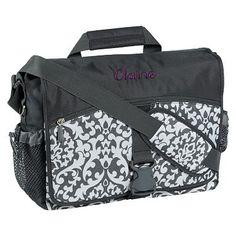I love the Gear-Up Gray Damask Messenger Bag on pbteen.com