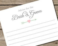Bride and Groom Advice Cards - INSTANT DOWNLOAD