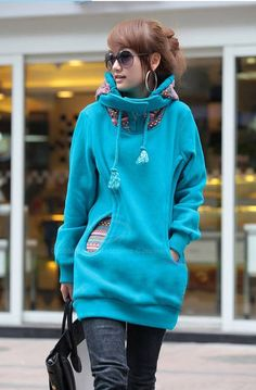 Korean Thicken Solid Color Thicken Hooded Long Sleeves Women's Hoody | TwinkleDeals.com