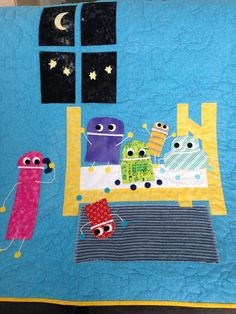 Made for Owen on his 3rd Birthday.  Story Bots Quilt by Mary Kelly. Original design.