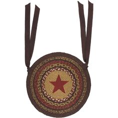 The Landon Jute Applique Star Chair Pad brings a primitive look to the kitchen with variations of chestnut, almond brown, and chili pepper jute braids and a lar Jute Rug, Chair Pads, Cushions On Sofa, Primitive, Applique, Victorian, Stars, Brown, Runners