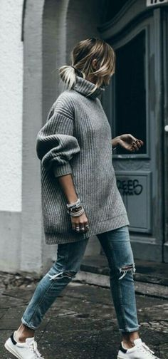 "streetstyleplatform: """"Grey Oversized Sweater "" """