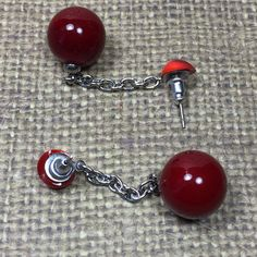 Red long hand blown lampwork earrings with surgical steel