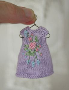 gorgeous purple knitted dress for doll