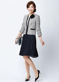 ツイードジャケット+紺プリーツスカートの入園式・入学式コーデ   花子