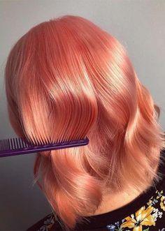 Stunning Glossy Peach Hair Looks for Medium Length Hair in 2019 Peach Hair Colors, Coral Hair, Pink Peach Hair, Hair Color Shades, Cool Hair Color, Henna Designs, Hair Designs, Pelo Multicolor, Hair Color Highlights