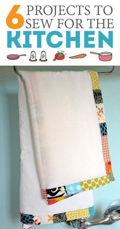 6 easy sewing projects to make for the kitchen. Love these colorful kitchen towels..too cute!