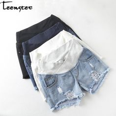 Low Waist Distressed Denim Shorts for Pregnant Women - Mimi La Mode offers a full collection of maternity bottoms, together with other casual pregnancy cl -