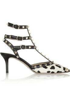Valentino Rockstud leopard-print calf hair pumps | NET-A-PORTER