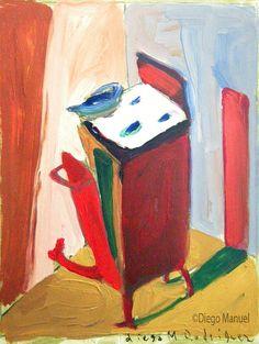 """Cocina roja 6"" acrylic on canvas, 26 x 22 cm. , 2002."