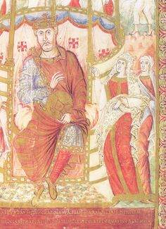 This image of Carolingian Emperor Charles the Bald and his wife was made between 866 and 875.  Note his wife's heavily embroidered veil.