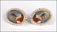 A Pair of 14 Karat Yellow gold Screwback Portrait Earrings : Lot 129-7366 #gold #portrait #earrings #finejewelry