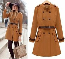 Tan Long  Sleeve Trench Double Breasted Celebrity Belted Coat