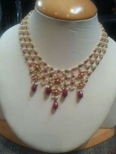 Ruby,emerald and pearl woven necklace Coral Jewelry, India Jewelry, Trendy Jewelry, Simple Jewelry, Bridal Jewelry, Simple Necklace, Diamond Jewelry, Pearl Necklace, Indian Jewellery Design