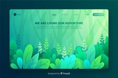 Flat nature landing page template Free Vector Web Design, Blog Design, Page Design, Vector Design, Graphic Design, Adobe Illustrator, Page Template, Templates, Photos Hd