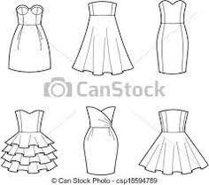 Vector of Dress - Vector illustration of women's dresses . Dress Sketches, Fashion Sketches, Fashion Illustrations, Dress Design Drawing, Children Sketch, Boyfriend Material, Easy Drawings, Designs To Draw, Fashion Design