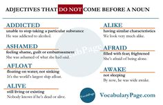 Adjectives that do not come before a noun #English www.vocabularypage.com