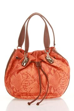 B-Collective by Buxton Brooke Drawstring Hobo In Tangerine