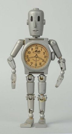 Mido Swiss Watch Advertising Robot. : Circa 1955. Advertises the Mido self-winding watch. Made in Switzerland.