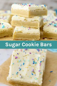 These Easy Frosted Sugar Cookie Bars Are Soft, Chewy & So Delicious! - - These easy Sugar Cookie Bars are soft and chewy and topped with a perfect whipped vanilla frosting. They're buttery, dense and so delicious! Chocolate Chip Cookies, Chewy Sugar Cookies, Sugar Cookie Bars, Sugar Cookie Frosting, Cookies Et Biscuits, Vanilla Frosting, Recipes With Chocolate Chips, Frosted Sugar Cookies, Baby Cookies