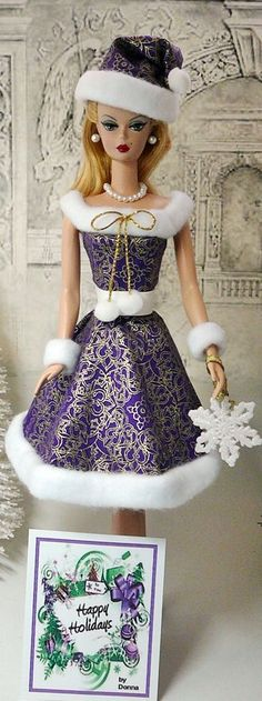 ⛄ Purple with white fur trim holiday Barbie Barbie Gowns, Barbie Dress, Barbie Clothes, Barbie Outfits, New Barbie Dolls, Barbie And Ken, Pink Barbie, Barbie Stuff, Dolls Dolls