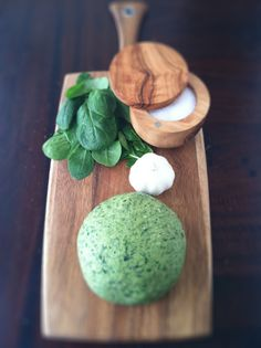 Spinach Pasta Dough - we've made this with the Fettuccine cutter, but tonight we are making this for Chicken and Spinach Ravioli