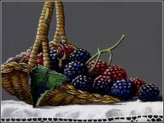 Berries in Woven Basket: Read my article WHY I PREFER ACRYLIC POLYMER PAINTS OVER OIL, painting by artist Paul Wolber