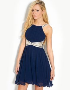 £55 Little Mistress  Lace Embellished Prom Dress - BANK Fashion