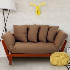 Casual Home Lounger Oak Convertible Futon - Khaki - 411-75