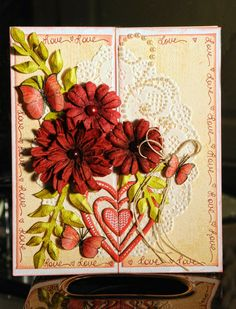 Lisa Gregory designed this elegant gate fold card using some double dot paper and embellishments from the Head Over Heels collection. Love the design. #BoBunny, @Lisa Nazario-Gregory