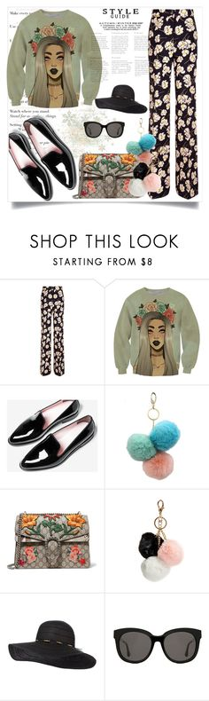 """""""Colorful winter"""" by zenabezimena ❤ liked on Polyvore featuring Rochas, Under One Sky, Gucci, GUESS, Gentle Monster, fashionset and polyvoreeditorial"""