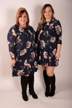 Story Of My Life Navy Floral Print Dress - D136NV