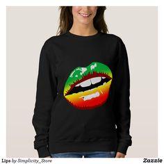 Shop Lips Sweatshirt created by Simplicity_Store. Rasta Shirt, Black Lips, Africa Fashion, Wardrobe Staples, Fitness Models, Graphic Sweatshirt, Female, Reggae, Sweatshirts