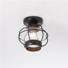 """Nautical Onion Outdoor Ceiling Light, $109, 8""""w x 8""""h ORB with seeded glass"""