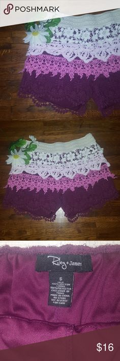 Crochet Shorts Beautiful, fully lined layered ruffle crochet shorts.   Elastic waist band.  Dark purple, light mauve and cream.   Like new, excellent condition! Riley & James Shorts
