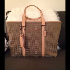 """Coach Travel Bag Coach Travel Bag - in very good condition - Barely used; like new. Perfect for traveling or weekend getaway. 16""""L x 13""""H x 8""""W, handle drops 11.5"""" approx. No trades/no paypall. Coach Bags"""