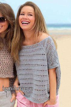 Летний льняной пуловер серого цвета в стиле оверсайз. Вязание спицами