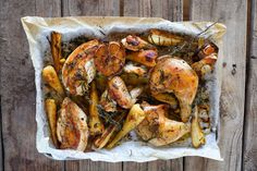 Tray Roasted Chook with Herbs, Verjuice and Parsnips - Maggie Beer